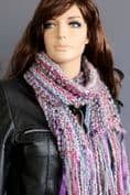 Multi stripe scarf in blue , pink and purple